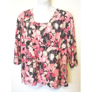 East 5th Pink Black Flower Print Shirt Top 3X EC